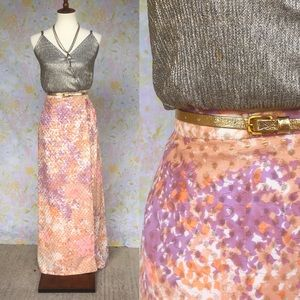 True Vintage✨70s Glittery Belted Maxi Skirt!